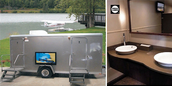 Elegant Bathroom Trailer Rental With Electricity, Heating, Air Conditioning as well as Hot/Cold Running Water.