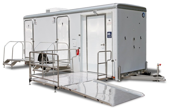 Elderly Handicapped Wheelchair Ramp Restroom Trailer in New Jersey With Private Shower Stalls